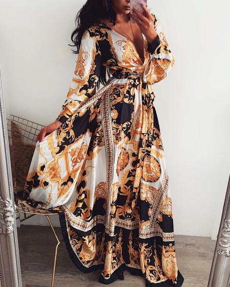 Long Sleeve Plunge Vintage Print Maxi Dress