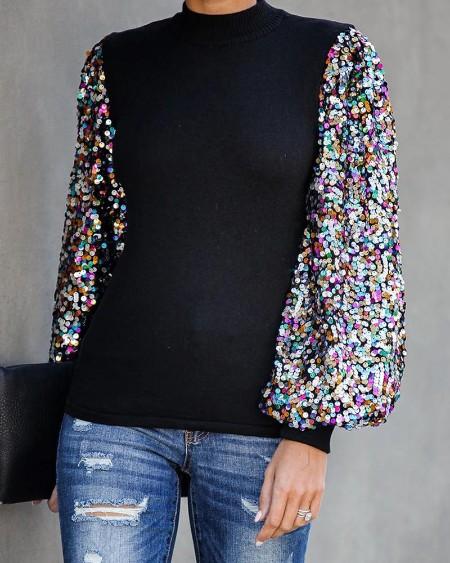Mock Neck Lantern Sleeve Sequins Colorblock Insert Blouse