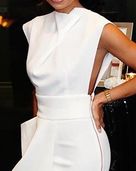 Solid Sleeveless Side Zipper Slit Irregular Dress