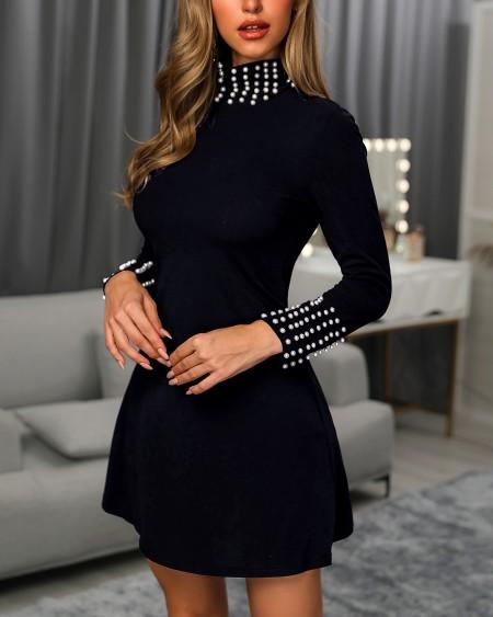Beaded High Neck Long Sleeve Ruffles Dress