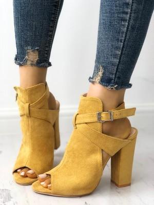 Cutout Criss Cross Strap Peep Toe Heels