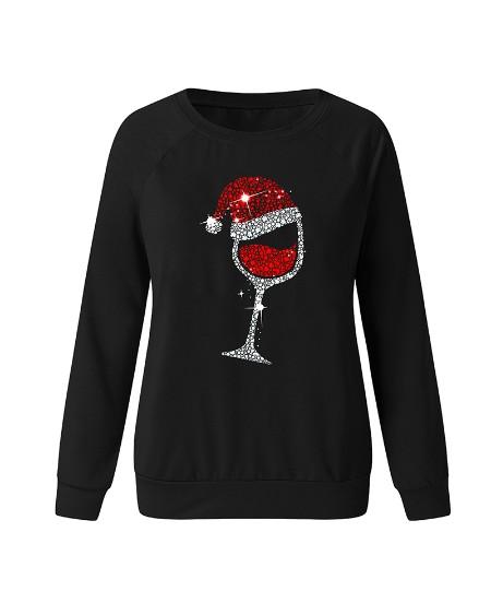 Christmas Print Sequins Long Sleeve Sweatshirt