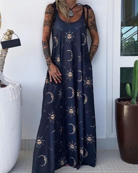 Sun And Moon Print Maxi Dress