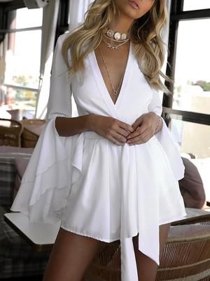 Flared Slit Sleeve Wrap Deep V Belted Mini Dress