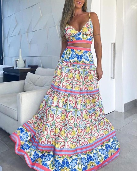 Boho Floral Two-Piece Set
