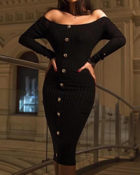 Off Shoulder Button Design Bodycon Dress