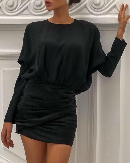 Batwing Sleeve Ruched Bodycon Dress
