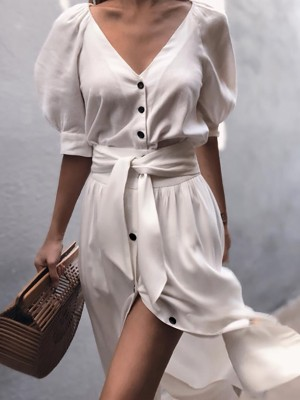 Puff Sleeve Button Through Belted Casual Dress