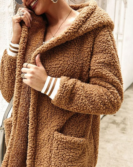 Striped Colorblock Teddy Hooded Coat