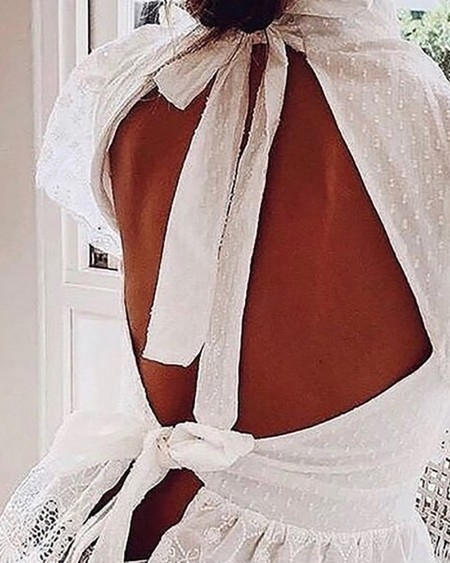 Lace Trim Backless Plain Blouse