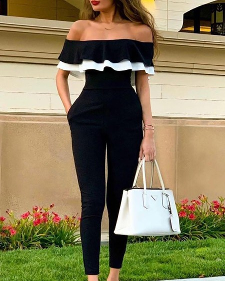 Off Shoulder Colorblock Ruffles Jumpsuit
