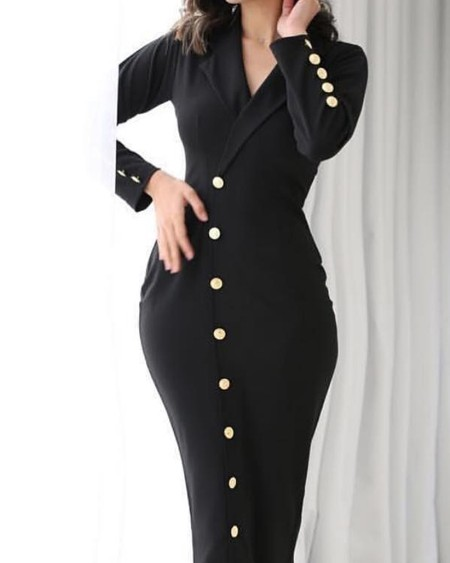 Long Sleeve Button Detail Blazer Dress