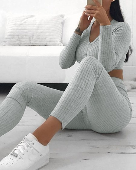 Lace-up Solid Color Long Sleeve Skinny Crop Top And Pencil Pants Suit Sets