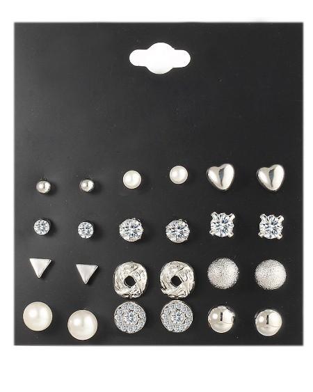 12 Pairs Rhinestone Beaded Pattern Ear Cuff Earring Set