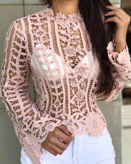 Beaded Hollow Out Lace Casual Blouse
