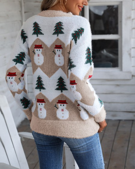 Christmas Snowman Tree Pattern Fluffy Ugly Sweater