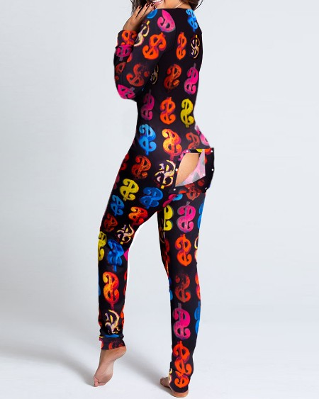 Dollars Print Functional Buttoned Flap Adults Pajamas