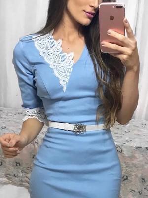 Crochet Lace Splicing Wrap Bodycon Dress