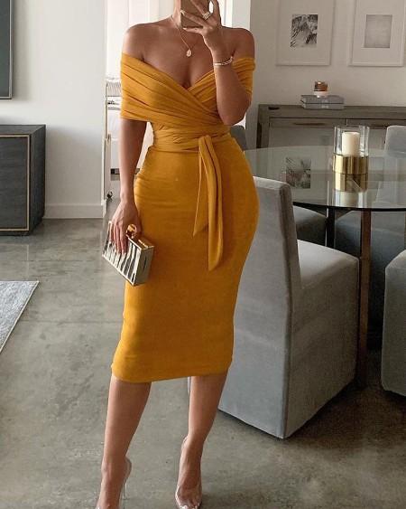 Solid Off Shoulder Wrap Dress