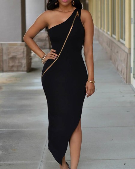 One Shoulder Zipper Design Slit Dress