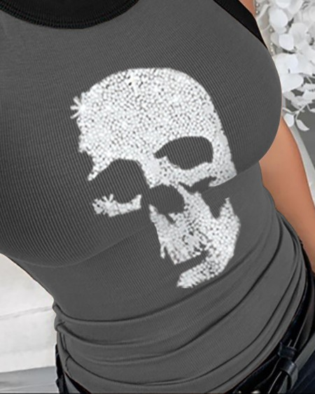 Summer Sleeveless Basic Cami Top Shirt Slim Knit Ribbed Racerback Blouses Skull Pattern Studded Tank Tops