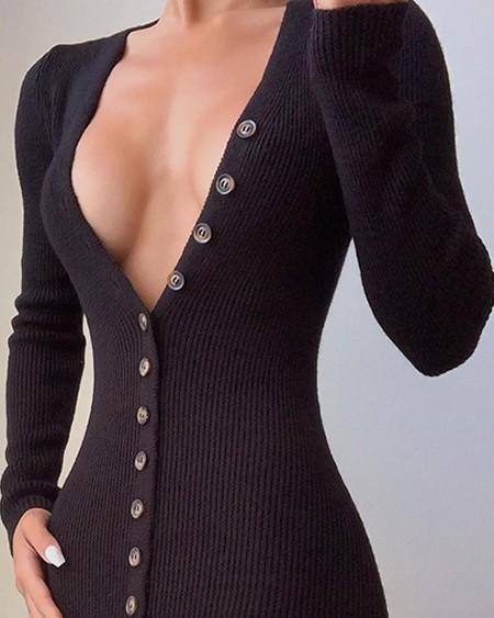 Deep V Neck Black Button-Up Dress