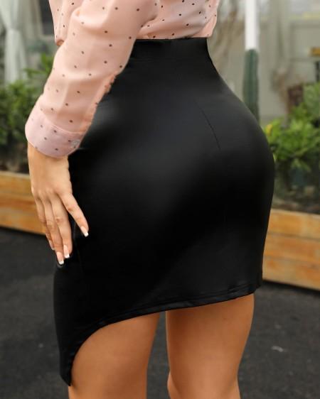 High Waist Ruched Irregular Skirt