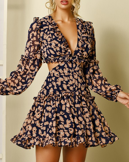 Cheetah Pattern Print Lace-up Backless Dress