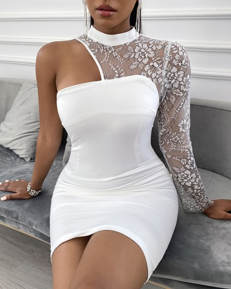 Floral Lace One Shoulder Bodycon Dress