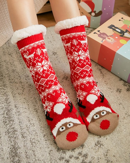 1Pairs Christmas Pattern Fluffy Socks