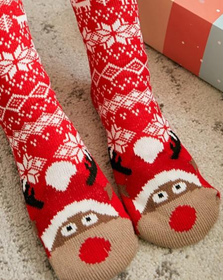 1Pairs Christmas Pattern Fluffy Socks