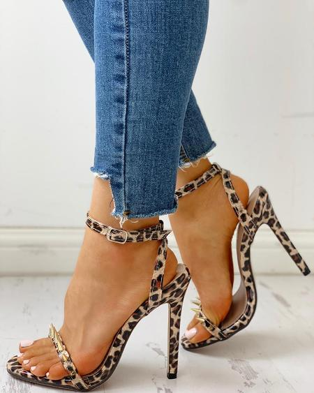 boutiquefeel / Rivet Leopard Thin Heeled Sandals