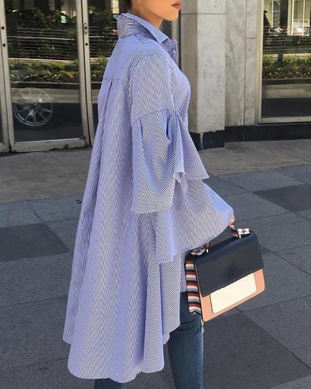 Striped Bell Sleeve Irregular Casual Shirt