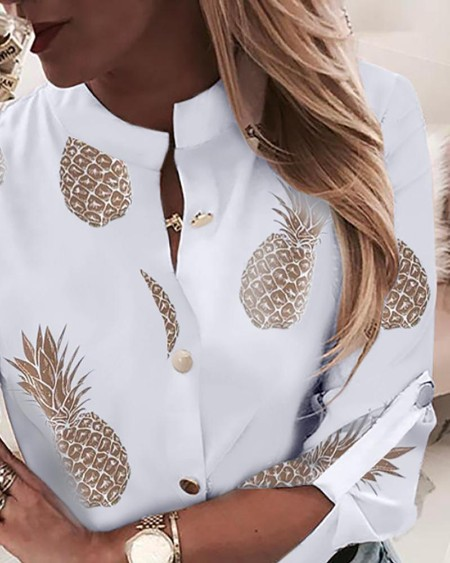 Pineapple Print Adjustable Sleeve Casual Blouse