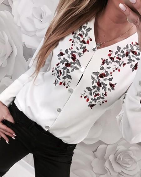 Floral Print V-Neck Long Sleeve Shirt