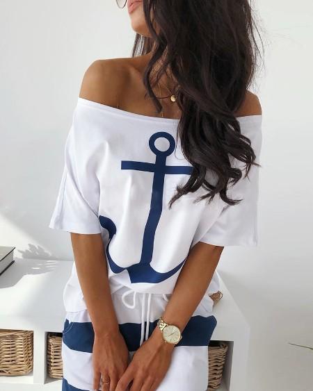 Off Shoulder Boat Anchor Print T-Shirt