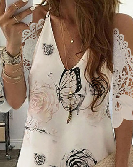 Floral Butterfly Print Cold Shoulder Casual Dress