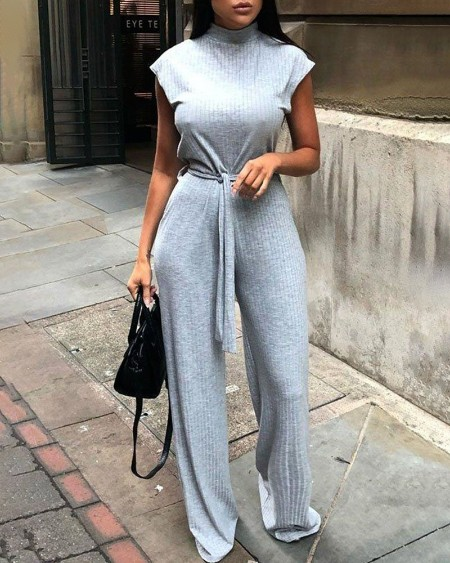 Solid High Neck Ribbed Sleeveless Jumpsuit