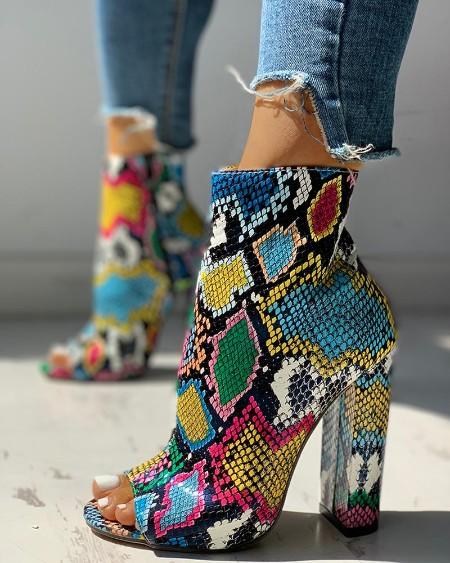 Solid Platform Zipper PU Chunky Heeled Boots Online