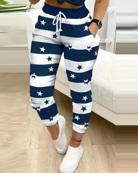 Colorblock Star Print Drawstring Skinny Pants