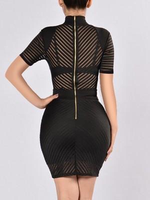 Splicing Sheer Mock Neck Bodycon Mini Dress