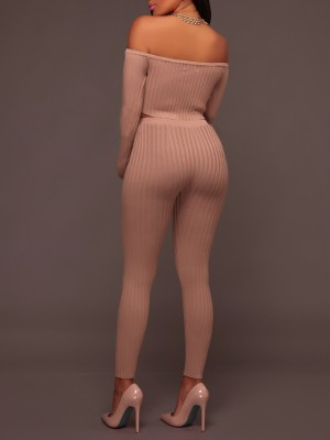 Off Shoulder Long Sleeve Rib Cropped Pantsuit