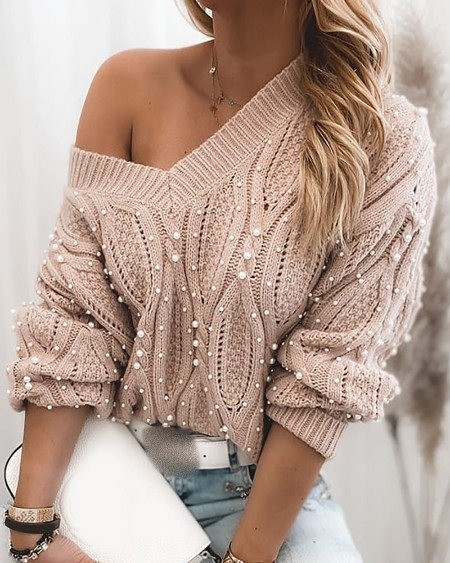 boutiquefeel / Beaded Long Sleeve Cable Knit Sweater
