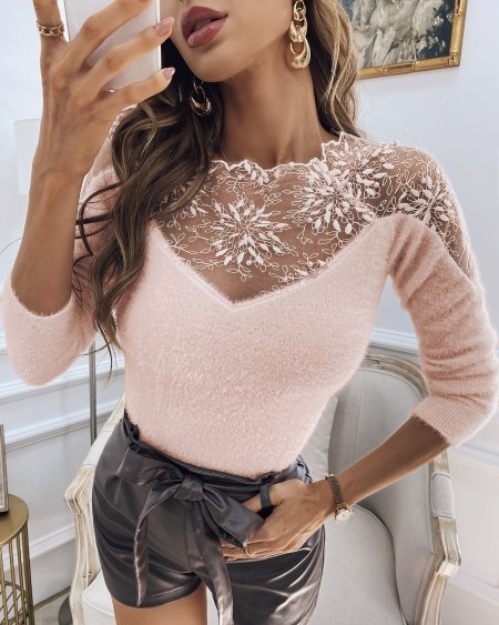 Crochet Lace Beaded Fluffy Sheer Mesh Sweater
