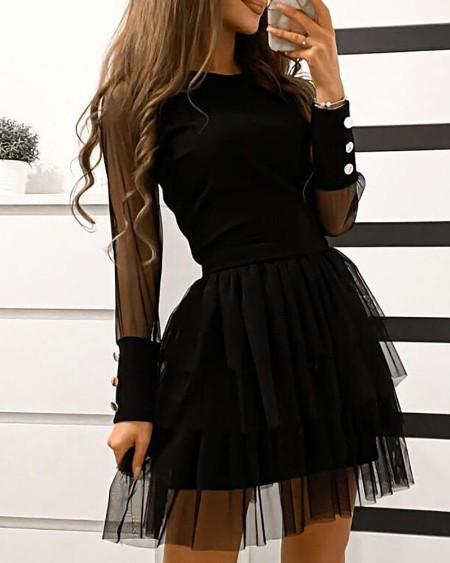 Sheer Mesh Button Design Layered Dress