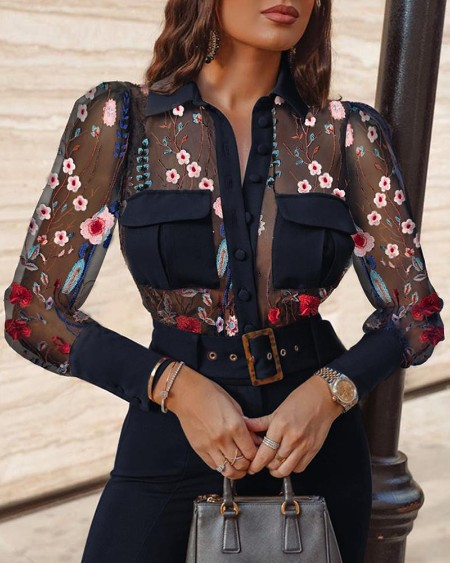Sheer Mesh Embroidery Long Sleeve Blouse