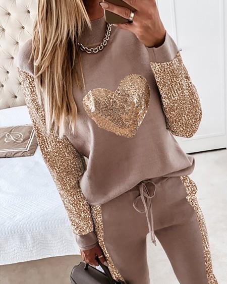 Sequins Long Sleeve Top & Drawstring Waist Pants Set