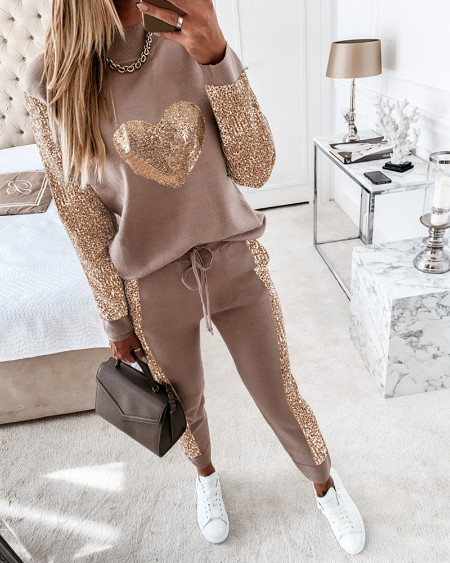Sequins Long Sleeve Top & Drawstring Waist Pants Set