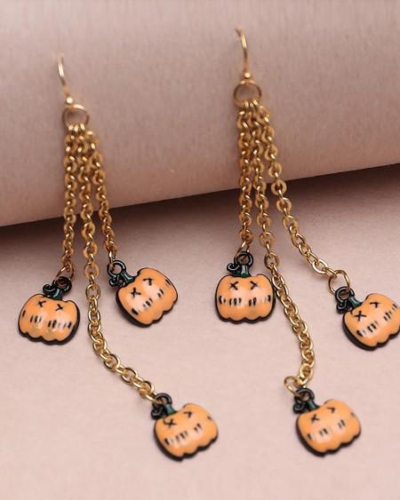 Halloween Pumpkin Pattern Chain Drop Earring