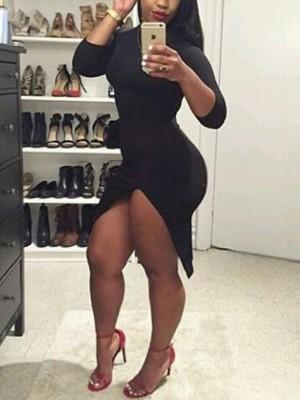 Skinny Side Slit Solid Color Bodycon Dress